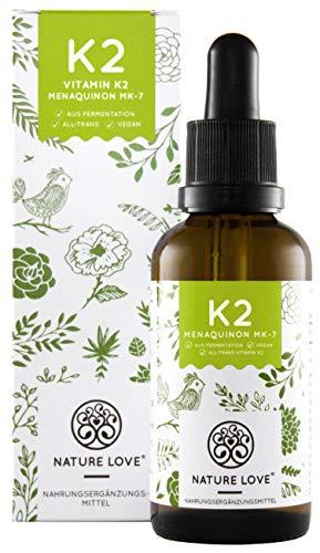NATURE LOVE Vitamin K2 MK-7-200µg, 1700 Tropfen, 50ml. Höchster All-Trans Gehalt 99,7% und natürlich fermentiert. Premium: Gnosis VitaMK7. Flüssig, vegan,...