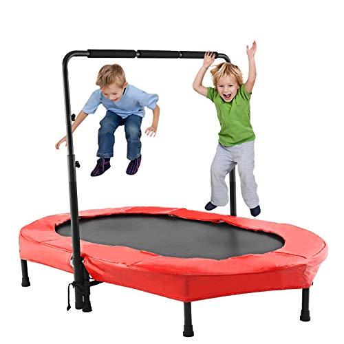 ANCHEER Kindertrampolin, Garten Trampolin für Zwei Kinder Indoor/Outdoor zusammenklappbar mit verstellbarem Handlauf Eltern-Kind-Trampolin Fitness Maximale Gewicht...
