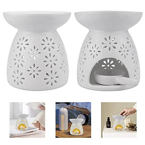 'N/A' WANTOUTH 2 Stücke Duftlampe Teelicht Keramik Blumenmuster Duftöl Teelichthalter Weiß Aromalampe Aroma Lampe Teelicht öl Aromabrenner mit 2 Stücke...