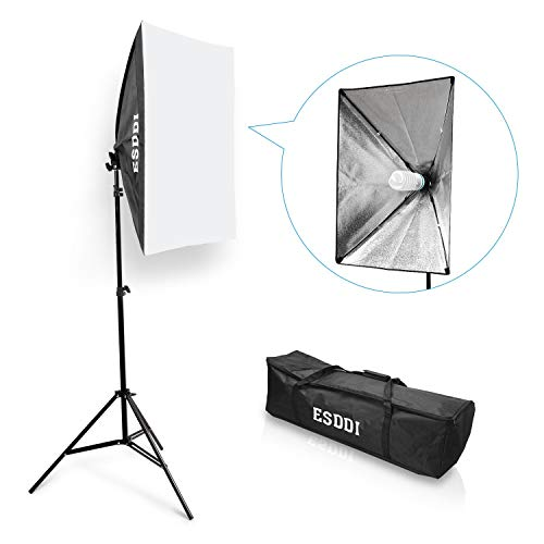 ESDDI Softbox Continuous Light Photo Studio Set Daylight Studio Lights Kit Photographic Light Soft Box with 85W Photographic Lamp Tripod Carrying Case