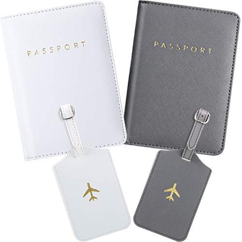 Frienda 2 Stücke Reisepass Hüllen und 2 Stücke Gepäck Etikett, Reisepass Halter Reise Koffer Etikett (Weiß, Grau)