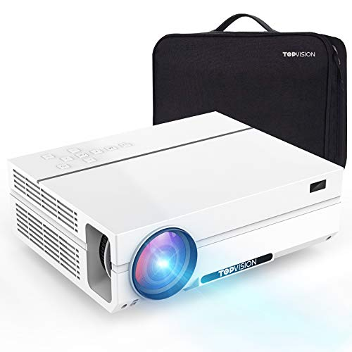 TOPVISION Heimkino Beamer mit Tragetasche,7500 Lumen Video Beamer with 80.000 Stunden Verlängert,Native 1080P LCD Beamer Full HD,4K 300'' Heim/Berufsbeamer für...