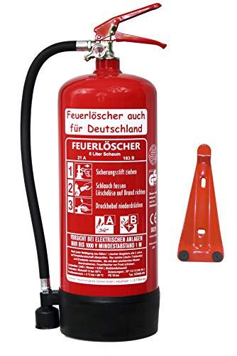 6 L Schaum Feuerlöscher Brandklasse AB DIN EN 3 + GS , Prüfnachweis mit Jahresmarke, Manometer, Wandhalter, Messingarmatur Sicherheitsventil, Standfuß,...