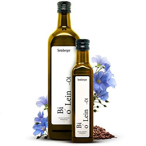 Premium BIO Leinöl von Steinberger | 100% rein & kaltgepresst | Geschmacksneutrales Leinöl aus nachhaltigem Anbau | 250 ml Glasflasche mit Dosierer | Hoher Gehalt...