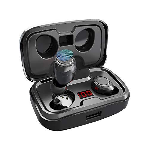 Antimi Bluetooth Kopfhörer Kabellos in Ear Kopfhoerer Sport Wireless Bluetooth 5.0 Headset mit 140 Stunden Spielzeit/Digitalanzeige/IPX7 Wasserdicht für iPhone...
