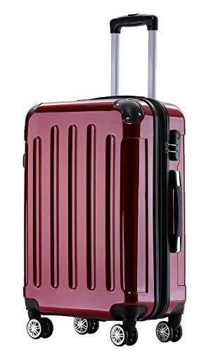BEIBYE Zwillingsrollen 2048 Hartschale Trolley Koffer Reisekoffer Taschen Gepäck in M-L-XL-Set (Rot, M)