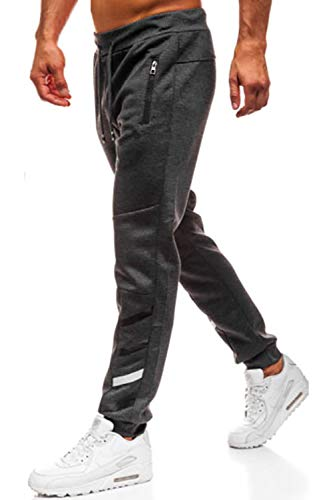 Lantch Herren Hosen Hose Sporthose Trainingshose Cargo Pants Jogginghose Sweatpants Jogger Mode Freizeit Laufen Streifen Enger Beinabschluss, XL, Dunkelgrau