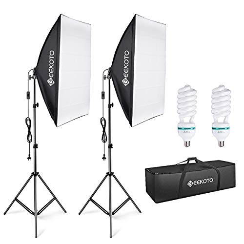 GEEKOTO Softbox Set Photo Studio 50 x 70cm, steady light Studio light set with 2 softbox lamps E27 85W 5500K, 2m fully adjustable light stands for studio portraits, ...