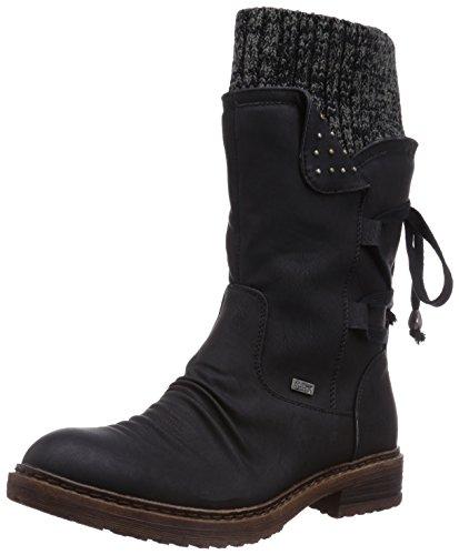 Rieker Damen 94773 Halbschaft Stiefel, schwarz/Black-Grey / 00, 40 EU