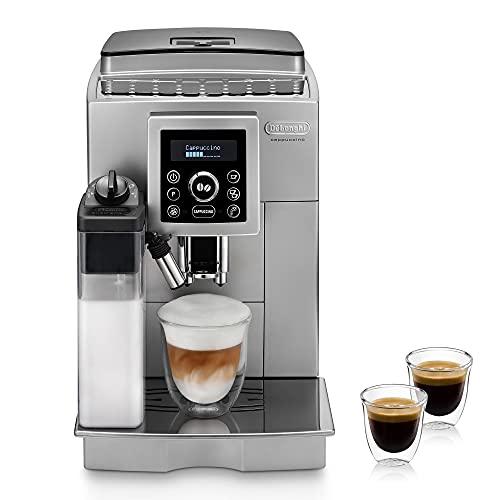 De'Longhi ECAM 23.466.S Kaffeevollautomat mit LatteCrema Milchsystem, Cappuccino und Espresso auf Knopfdruck, Digitaldisplay mit Klartext, 2-Tassen-Funktion, Großer...