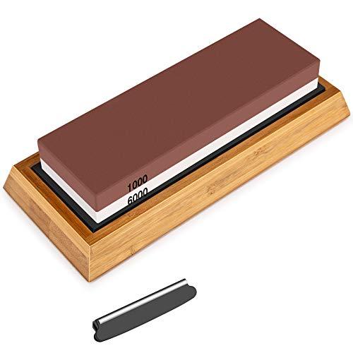 Schleifstein Messer, 2-IN-1 Wetzstein Messerschleifer, Körnung 1000/6000 Knife Sharpener mit Rutschfestem Silikonhalte, Abziehstein für Küche Messer/Jagdmesser