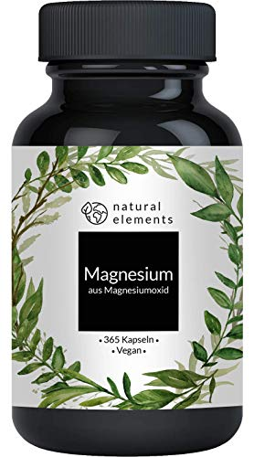 Magnesium - 365 capsules - introductory price - 665mg, thereof 400mg elemental magnesium per capsule - laboratory tested, high dose, vegan and made in Germany