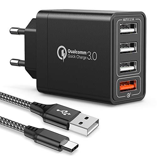 IWAVION Quick Charge 3.0 USB Ladegerät mit USB Type C Ladekabel, 30W QC 3.0 ladegeraet mit 4 Ports Schnellladegerät USB Netzteil für Samsung Galaxy...