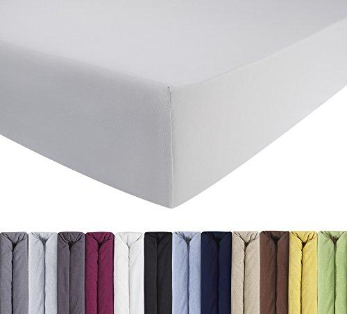 ENTSPANNO Jersey Spannbettlaken für Wasser- und Boxspringbett in Weiß aus gekämmter Baumwolle. Spannbetttuch mit Einlaufschutz, 180 x 200   200 x 200   200 x 220...