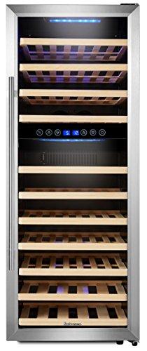 Kalamera KRC-73BSS Design Weinkühlschrank für bis zu 73 Flaschen (bis zu 310 mm Höhe),weinkühler mit Kompressor,zwei Temperaturzonen 5-10°C/10-18°C,(200 Liter,...