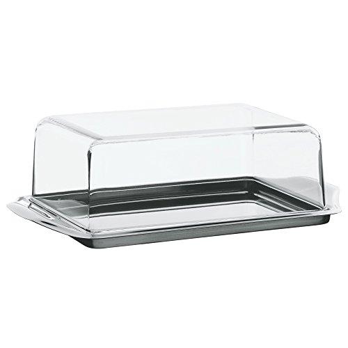 WMF Knackig frisch Butterdose Edelstahl 16 x 10 cm, mit Kunststoffhaube, Cromargan Edelstahl mattiert, spülmaschinengeeignet