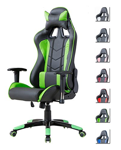 Delman Gaming Stuhl Bürostuhl Racing Stuhl Gamer Ergonomischer Stuhl Einstellbare Armlehne Einteiliger Stahlrahmen Einstellbarer Neigungswinkel 02-1004...