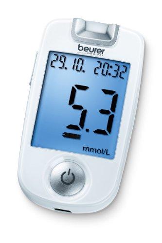 Beurer GL 40 Verensokerimittari mmol / L (valkoinen, Helppo veren glukoosimittaus valaistulla testiliuskan kiinnitysakselilla ja käynnistyssarjalla)