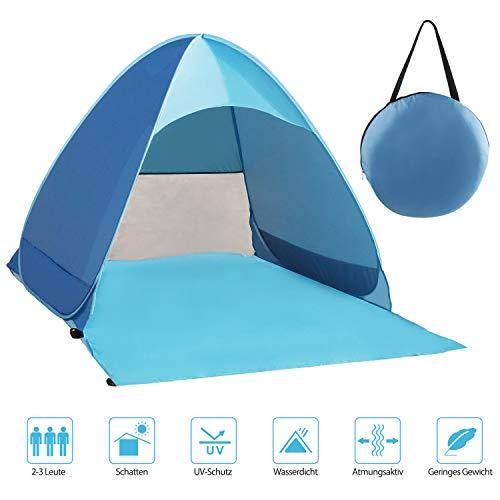 Karvipark Strandmuschel, Tragbar Extra Light Strandzelt, Sun Shelter für 2-3 Personen, Einschließlich Tragetasche und Zeltpflöcke, UV-Schutz, Beach Zelt für...