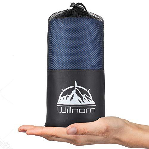 WILLNORN 2in1 Hüttenschlafsack aus Mikrofaser, mit durchgängigem Reißverschluss: Leichter Komfort Reiseschlafsack und XL Reisedecke in Einem(95 * 220 cm)(Blau)
