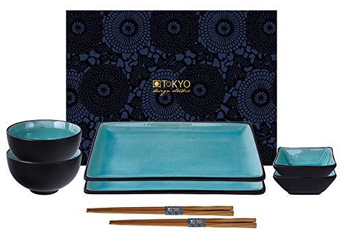 TOKYO design studio, Glassy Turquoise, Set mit 2 Teller + 2 Sauce Schalen + 2 Reis Schalen+ 2 Essstäbchen, 8-TLG, Steingut