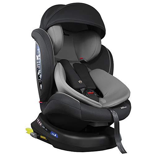 XOMAX S64 Kindersitz drehbar 360° mit ISOFIX und Liegefunktion I mitwachsend I 0-36 kg, 0-12 Jahre, Gruppe 0/1/2/3 I 5-Punkt-Gurt und 3-Punkt-Gurt I Bezug...