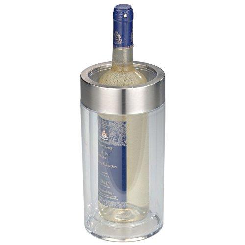 axentia Flaschenkühler transparent, Behälter zum Kühlen von Wein, Sekt, Champagner oder Softdrinks, Getränkekühler doppelwandig, Maße: ca. Ø 12 x H 19.5 cm