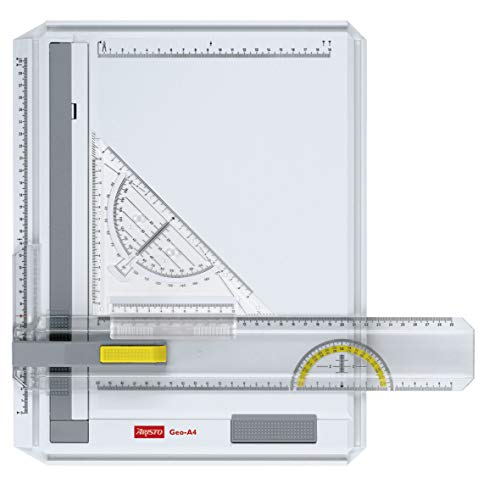 Aristo AR70442 Geo-Board drawing board (format: A4, impact-resistant plastic, incl. Quick-drawing triangle AR7090) white