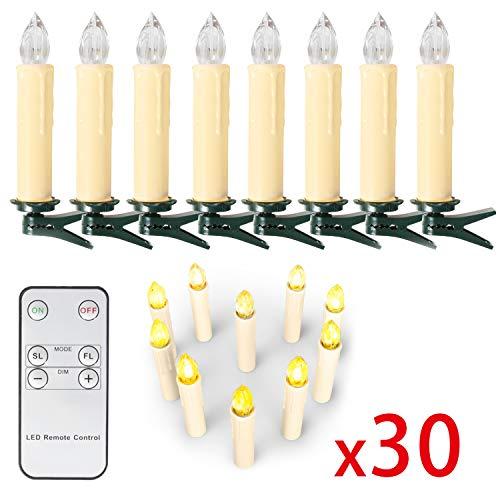OZAVO 30er Weihnachten Kerzen LED Rot Weihnachtskerzen Lichterkette Kabellos Baumkerzen Christbaumkerzen mit Fernbedienung