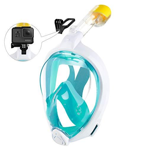 ORSEN Tauchmaske Vollgesichtsmaske für Erwachsene & Kinder, Faltbare Schnorchelmaske Vollmaske mit 180° Sicht und Action Kamera-Halterung, Müheloses...