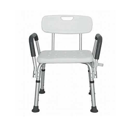 MCTECH ® Rechteckig Duschhocker Duschstuhl Badehocker Höhenverstellbar Badhocker Duschhilfe mit Armlehne und Rückenlehne Höhenverstellbar für Alter, Schwangere...