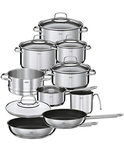 RÖSLE ELEGANCE Topfset 10-tlg., 6 hochwertige Kochtöpfe, 1 Dämpfeinsatz, 2 Bratpfannen im Set, Edelstahl 18/10, mit Glasdeckel und Innenskalierung,...