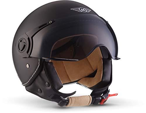 "MOTOHelmets® H44 ""Matt Black"" · Jet-Helm · Motorrad-Helm Roller-Helm Scooter-Helm Bobber Mofa-Helm Chopper Retro Cruiser Vintage Pilot Biker Helmet · ECE..."
