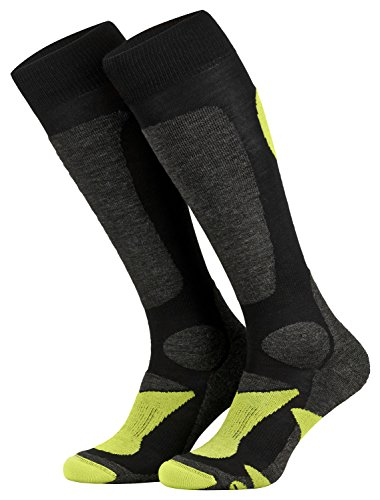 Piarini 2 Paar Unisex Skisocken Skistrumpf Herren, Damen und Kinder fr Wintersport, Snowboard atmungsaktive Knie-Strmpfe Farbe Schwarz-Grn Gr.43-46