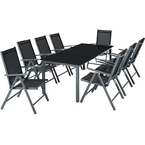 TecTake Aluminium Sitzgarnitur 8+1 Sitzgruppe Gartenmöbel Tisch & Stuhl-Set - Diverse Farben - (Dunkelgrau | Nr. 402164)