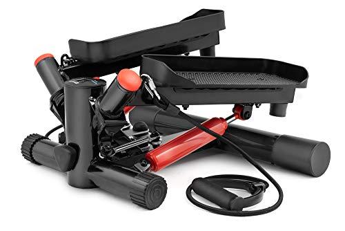 Hop-Sport Swing Side Stepper HS-035S Computer Trainingsbänder verstellbare Tritthöhe Einstellbarer Widerstand (Schwarz-rot)