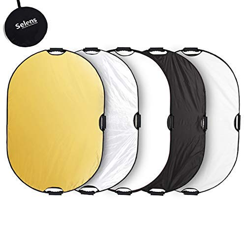 Selens 5-in-1 80x120cm Oval Reflektor Tragbarer Faltbarer fr Fotografie Fotostudio Beleuchtung und Auenbeleuchtung