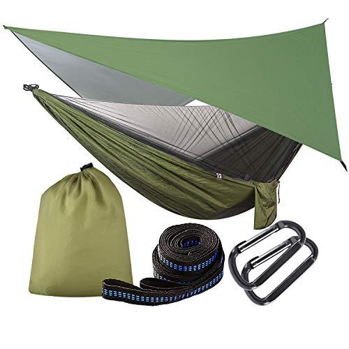 OTraki Hängematte mit Moskitonetz und Zeltplane Hängematte Tarp Reise Camping Hammock mit Zipper 200kg Last Kapazität Ultraleichte Atmungsaktiv für Outdoor,...
