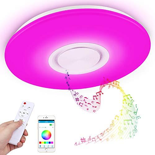 Led Deckenleuchte mit Bluetooth Lautsprecher und Fernbedienung, 24W RGB Musik Deckenlampe Farbwechsel mit APP-Steuerung, 3000-6500K für Küche Kinderzimmer...