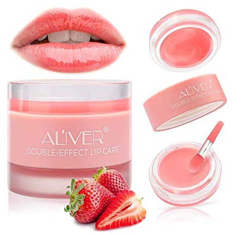 Lippenpeeling, Lippenschlafmaske mit doppeltem Effekt, Lippenbehandlung, Erdbeer-Feuchtigkeitsmaske über Nacht, Schlaflippenbalsam, Peeling-Lippen, Lippenprimer,...