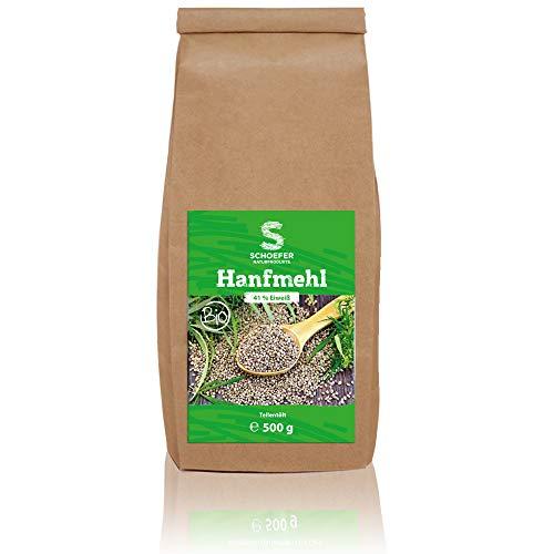 Bio Hanfmehl, vegan, hoher Eiweißgehalt, Hanfsamen reich an Omega-3, Hanf-Protein-Pulver für Eiweiß-Shakes, zum glutenfreien Backen 500g