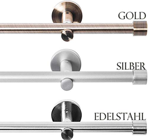 Rollmayer metal curtain rod Ø 16mm tube, chrome matt for eyelet curtain curtain curtain (Crux 120cm long, silver, 1-track) wall mounting easy assembly ...