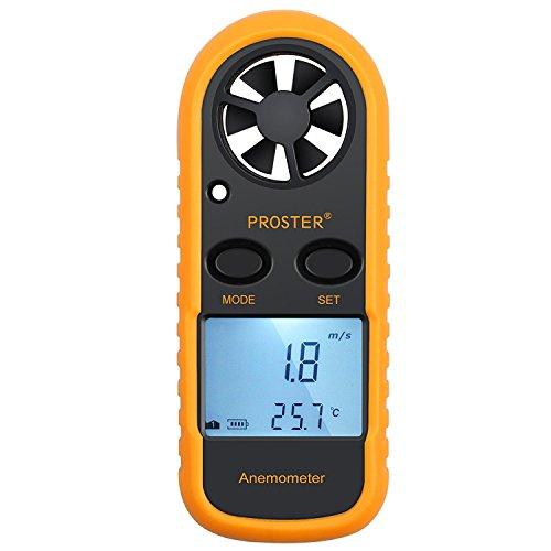 Proster Windmesser Digital LCD Wind Speed Meter Gauge Air Flow Geschwindigkeit Messung Thermometer mit Hintergrundbeleuchtung für Windsurfen Kite Flying Segeln...