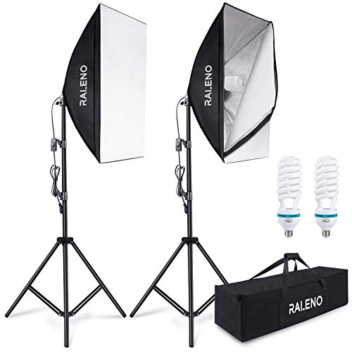 Softbox Continuous Softboxes 2er Set, RALENO Studio Lamp Photo Studio Kit Photographic Light Soft Box with 85W 5500K Photographic Lamp Tripod Carrying Case