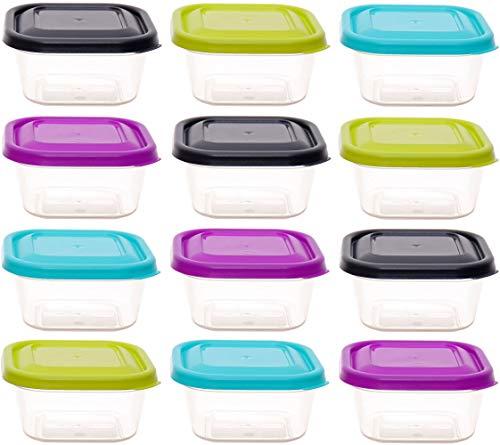 idea-station Vorratsdosen-Set mit Deckel 12 Stück, 300 ml, bunt, eckig, stapelbar, Tiefkühldosen, Frischhaltedosen, Aufbewahrungsboxen, spülmaschinenfest,...