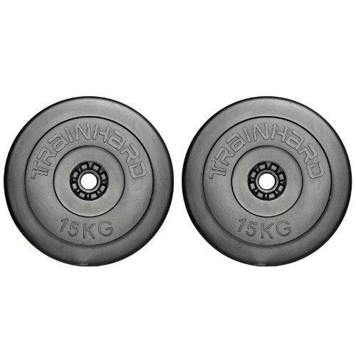 TrainHard 30kg Hantelscheiben Gewichte Kunststoff Zement aus 2 x 15kg