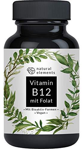 Vitamin B12 1000µg - Vergleichssieger 2019* - 180 Tabletten - Premium: Beide Aktivformen + Depot + Folat (5-MTHF aus Quatrefolic) - Vegan, hochdosiert & made in...