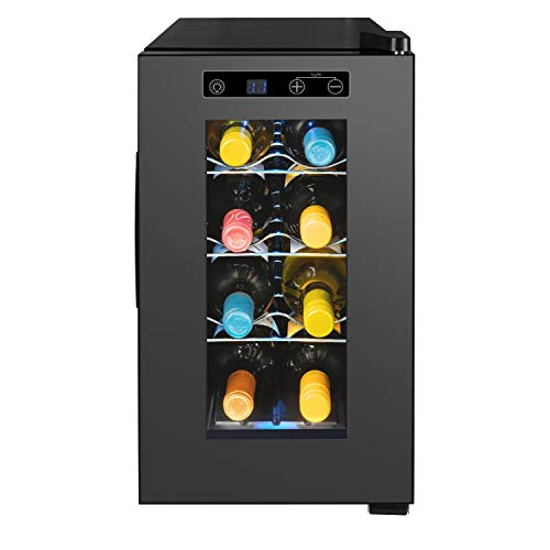 MEDION Weintemperierschrank 21 Liter, Weinkühlschrank für 8 Flaschen, Temperaturbereich 7-18° C, Touch Bedienung, vespiegelte Glastür, freistehend, leise, 3...
