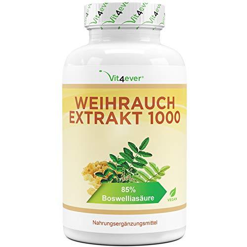 Weihrauch Extrakt - 365 Kapseln - Premium: 85% Boswellia-Säure - Hochdosiert mit 1000 mg je Tagesdosis - Echtes indisches Boswellia Serrata - Laborgeprüft - Vegan