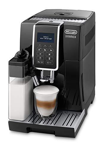 De'Longhi Dinamica ECAM 350.55.B Kaffeevollautomat mit Milchsystem, Cappuccino, Espresso und Kaffee auf Knopfdruck, Digitaldisplay mit Klartext, 2-Tassen-Funktion,...